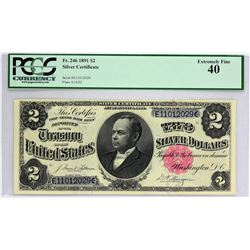 Fr. 246. 1891 $2 Silver Certificate. PCGS Currency Extremely Fine 40.