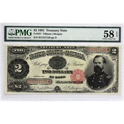 Fr. 357. 1891 $2 Treasury Note. PMG Choice About Uncirculated 58 EPQ.