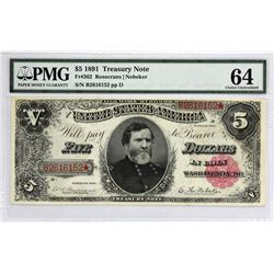 Fr. 362. 1891 $5 Treasury Note. PMG Choice Uncirculated 64.
