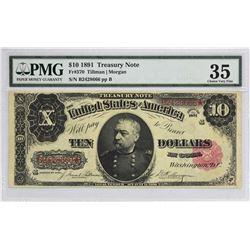 Fr. 370. 1891 $10 Treasury Note. PMG Choice Very Fine 35.