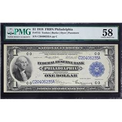 Fr. 715.  1918 $1 Federal Reserve Bank Note.  PMG Choice About Unc 58.