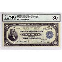 Fr. 779. 1918 $2 Federal Reserve Bank Note.  San Francisco. PMG Very Fine 30.