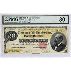 Fr. 1178. 1882 $20 Gold Certificate.  PMG Very Fine 30.