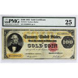Fr. 1214 1882 $100 Gold Certificate.  PMG Very Fine 25.