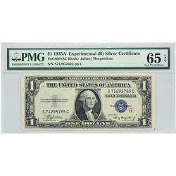 "Fr. 1609.  1935A $1 Experimental ""R"" Silver Certificate.  PMG Gem Uncirculated 65 EPQ."