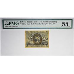 Fr. 1286a. Slate Back Variety Second Issue 25 Cent Fractional PMG About Unc 55.