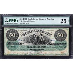 T-4.  1861 $50 Confederate Currency.  PMG Very Fine 25 Net:  Stained, Minor Repairs.