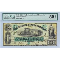 T-5.  1861 $100 Confederate Currency.  PMG About Uncirculated 55 Net.