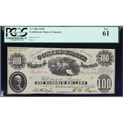 T-7.  1861 $100 Confederate Currency.  PCGS Currency New 61.