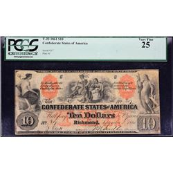 T-22.  1861 $10 Confederate Currency.  PCGS Currency Very Fine 25.