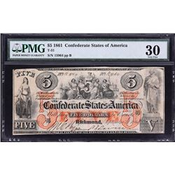 T-31.  1861 $5 Confederate Currency.  PMG Very Fine 30.