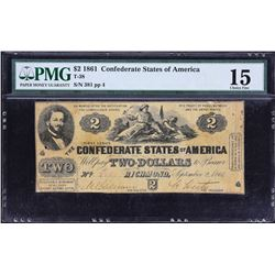 T-38.  1861 $2 Confederate Currency.  PMG Choice Fine 15.