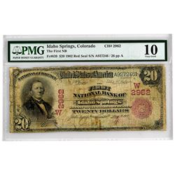 Idaho Springs, Colorado.  $20 1902 Red Seal. Fr. 639. First NB. Charter 2962. Very Good.