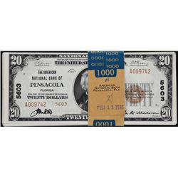 Pensacola, Florida.  1929 $20 Type 2.  Fr. 1802-2.  American NB.  Charter 5603.  Pack of 50 Notes.