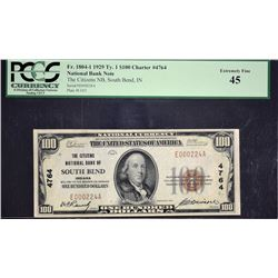 South Bend, Indiana.  1929 $100 Type 1.  Fr. 1804-1.  Citizens NB.  Charter 4764.   PCGS Currency Ex
