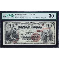 Garnett, Kansas.  1882 $20 Brown Back. Fr. 504.  NB of Commerce.  Charter 5292.  PMG Very Fine 30, M
