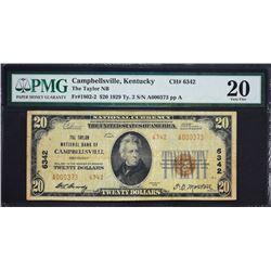 Campbellsville, Kentucky.  1929 $20 Type 2.  Fr. 1802-2.  Taylor NB.  Charter 6342.  PMG Very Fine 2