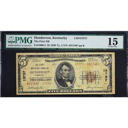 Henderson, Kentucky.  1929 $5 Type 2.  Fr. 1800-2.  First NB.  Charter 13757.  PMG Choice Fine 15.