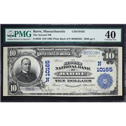 Barre, Massachusetts.  1902 $10 Plain Back.  Fr. 628.  Second NB.  Charter 10165.  PMG Extremely Fin