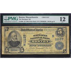 Boston, Massachusetts.  1902 $5 Plain Back.  Fr. 606.  Mattapan NB.  Charter 11137.  PMG Fine 12.