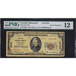 Eveleth, Minnesota.  1929 $20 Type 2.  Fr. 1802-2.  First NB.  Charter 5553.  PMG Fine 12.