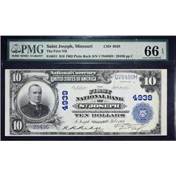 St. Joseph, Missouri.  1902 $10 Plain Back. Fr. 631.  First NB.  Charter 4939.  PMG Gem Uncirculated