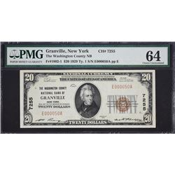 Granville, New York.  1929 $20 Type 1.  Fr. 1802-1.   Washington County NB.  Charter 7255.  PMG Choi