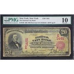 New York, New York.  1902 $20 Red Seal.  Fr. 640.  National City Bank. Charter 1461.  PMG Very Good