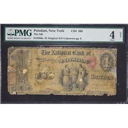 Potsdam, New York.  Original $1.  Fr. 380a.  National Bank.  Charter 868.  PMG Good 4 Net, Tape Repa