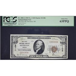 Silverton, Oregon.  1929 $10 Type 1.  Fr. 1801-1.  First NB.  Charter 11106.  PCGS Currency Choice N