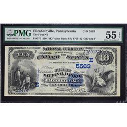 Elizabethville, Pennsylvania.  1882 $10 Value Back.  Fr. 577.  First NB.  Charter 5563.  PMG About U