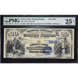 Grove City, Pennsylvania.  1882 $20 Value Back.  Fr. 583.  Grove City NB.  Charter 5501.  PMG Very F
