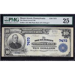 Mount Jewett, Pennsylvania.  1902 $10 Plain Back.  Fr. 624.  Mount Jewett NB.  Charter 7473.  PMG Ve