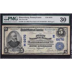 Rimersburg, Pennsylvania.  1902 $5 Plain Back.  Fr. 598.  First NB.  Charter 6676.  PMG Very Fine 30