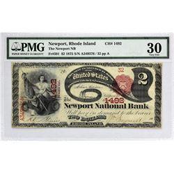 Newport, Rhode Island.  1875 $2 Fr. 391. Newport NB. Charter 1492.  PMG Very Fine 30.