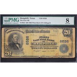 Hemphill, Texas.  1902 $20 Plain Back.  Fr. 652.  First NB.  Charter 8526.  PMG Very Good 8, Tape.