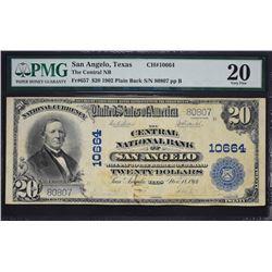 San Angelo, Texas.  1902 $20 Plain Back.  Fr. 657.  Central NB.  Charter 10664.  PMG Very Fine 20.