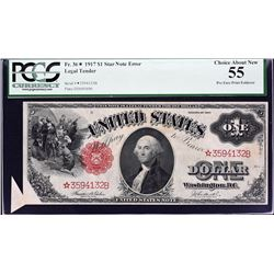 Fr. 36*.  1917 $1 Star Note Error.  PCGS Currency Choice About New 55.