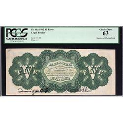 Fr. 61a.  1862 $5 Legal Tender Error.  PCGS Currency Choice New 63.