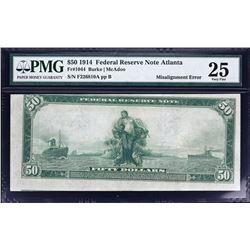 Fr. 1044.  1914 $50 Federal Reserve Note Error.  PMG Very Fine 25.