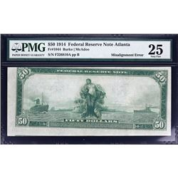 Fr. 1044.  1914 $50 Federal Reserve Note Error.  PMG Very Fine 25.