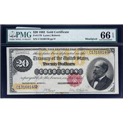 Fr. 1178.  1882 $20 Gold Certificate Error. PMG Gem Uncirculated 66 EPQ.