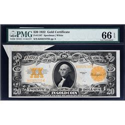 Fr. 1187.  1922 $20 Gold Certificate Error.  PMG Gem Uncirculated 66 EPQ.