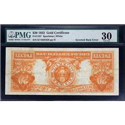 Fr. 1187.  1922 $20 Gold Certificate Error.  PMG Very Fine 30.