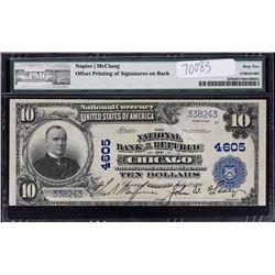 Chicago, Illinois.  NB of the Republic. 1902 $10 Plain Back Error. Fr. 628. Charter 4605.  PMG Uncir