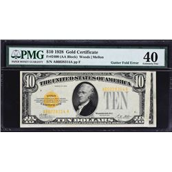 Fr. 2400.  1928 $10 Gold Certificate Error.  PMG Extremely Fine 40.