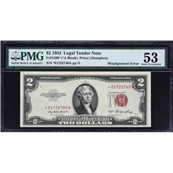 Fr. 1509*.  1953 $2 Legal Tender Star Note Error.  PMG About Uncirculated 53.