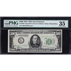 Fr. 2201-Ldgs.  1934 $500 Federal Reserve Note Error.  PMG Choice Very Fine 35.