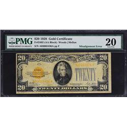 Fr. 2402.  1928 $20 Gold Certificate Error.  PMG Very Fine 20.