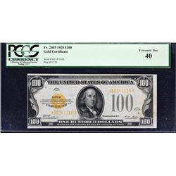 Fr. 2405.  1928 $100 Gold Certificate Error.  PCGS Currency Extremely Fine 40.